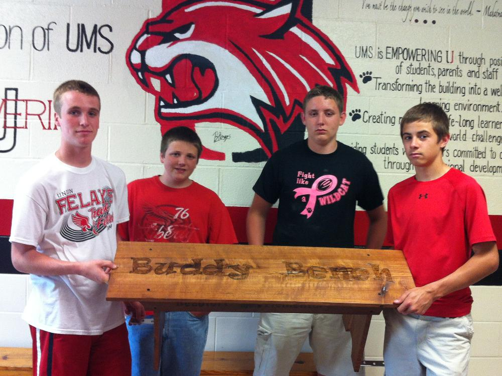 UMS Ag students Derek Foster, Zachary Brunkhorst, Drew Stallmann and Avery  Morrow built this Buddy Bench for Beaufort Elementary with the materials  donated by Hall Brothers Lumber.